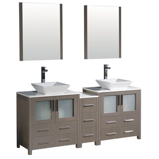 Fresca Torino 72-inch Grey Oak Modern Double Sink Bathroom Vanity with Side Cabinet and Vessel Sinks