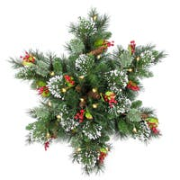 """24"""" Wintry Pine Snowflake with Battery Operated Warm White LED Lights"""