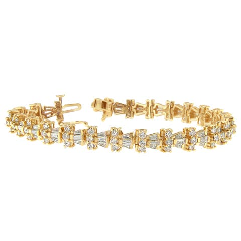 14K Yellow Gold 6ct. TDW Round and Baguette Cut Diamond Trio Tennis Bracelet (H-I, SI1-SI2)
