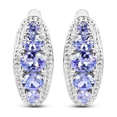 Olivia Leone .925 Sterling Silver 1.62 Carat Genuine Tanzanite Earrings