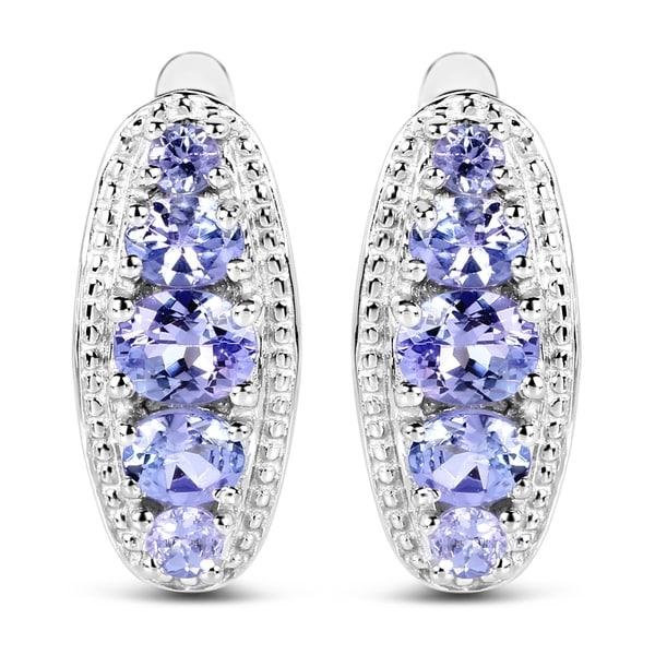Olivia Leone 925 Sterling Silver 1 62 Carat Genuine Tanzanite Earrings