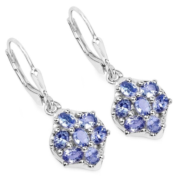 Olivia Leone 925 Sterling Silver 2 38 Carat Genuine Tanzanite Earrings