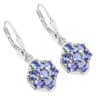 Olivia Leone .925 Sterling Silver 2.38 Carat Genuine Tanzanite Earrings