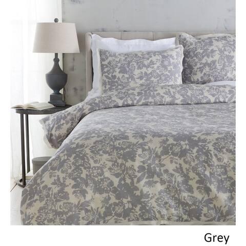 Shelia Floral Linen/ Cotton 3-piece Duvet Cover Set
