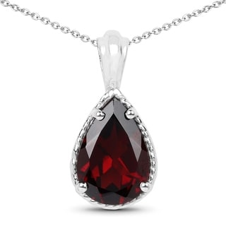 Olivia Leone .925 Sterling Silver 3.50 Carat Genuine Garnet Pendant