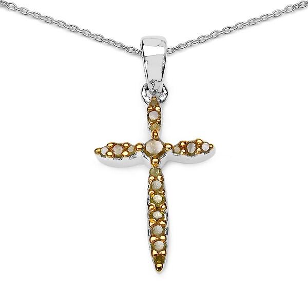 Olivia leone 925 sterling silver 016 carat genuine yellow olivia leone 925 sterling silver 016 carat genuine yellow diamond pendant mozeypictures Images