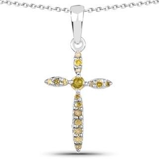 Olivia Leone .925 Sterling Silver 0.16 Carat Genuine Yellow Diamond Pendant