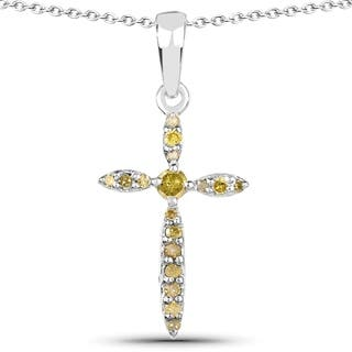 Olivia Leone .925 Sterling Silver 0.16 Carat Genuine Yellow Diamond Pendant|https://ak1.ostkcdn.com/images/products/10631580/P17700484.jpg?impolicy=medium