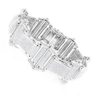 Luxurman 10k Gold Men's 8ct TDW Diamond Bracelet (H, SI1-SI2)