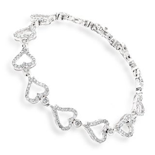Luxurman 14k Gold 3 1/4ct TDW Diamond Heart Bracelet (G-H, SI1-SI2)