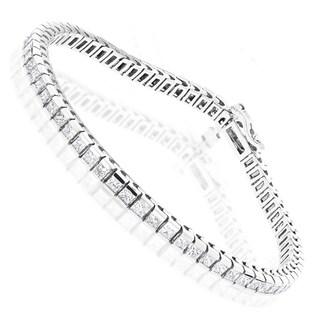 Luxurman 14k Gold 4 4/5ct TDW Princess-cut Diamond Tennis Bracelet (H, SI1-SI2)