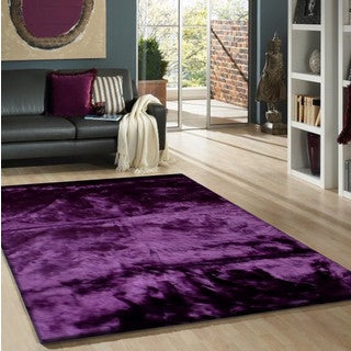 Purple Faux Fur Sheep Skin Shag Area Rug (5' x 7') - 5' x 7'