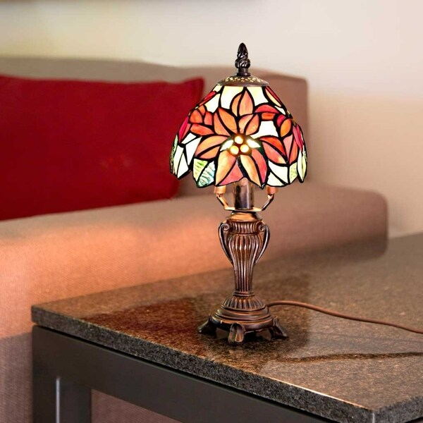 River of goods 12 5 stained glass poinsettia accent lamp