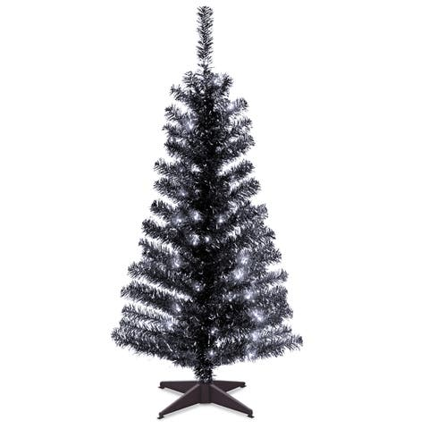 4 ft. Tinsel Tree - Black, with Clear Lights