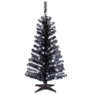 4 ft. Tinsel Tree  Black, with Clear Lights