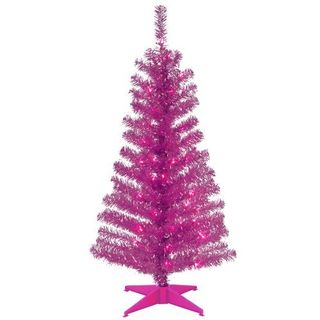 4 ft. Tinsel Tree - Pink, with Clear Lights