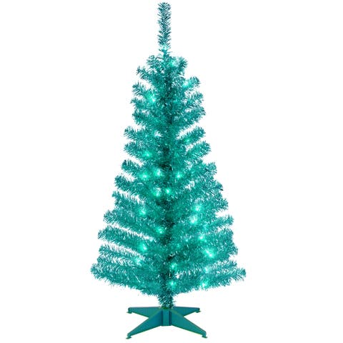 National Tree Company 4' Turquoise Decorative Tinsel Christmas Tree with Plastic Stand and Clear Lights
