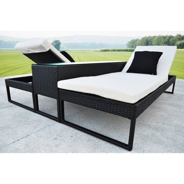Solis corressa outdoor black 3 piece chaise lounger wicker for Black outdoor wicker chaise