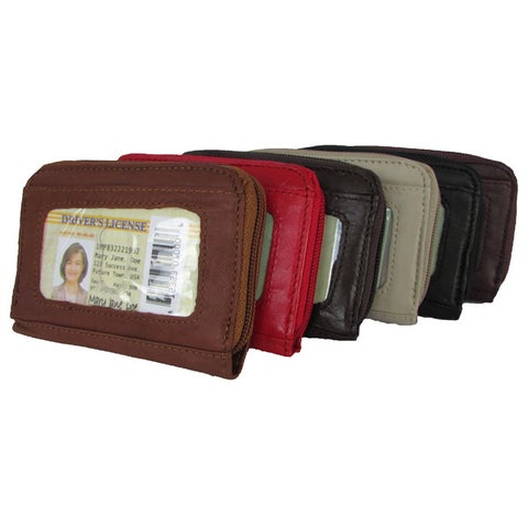 Continental Leather Small Hand Held Women's Wallet with Exterior Window ID and Multiple Credit Card Slots - S