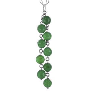 "Emerald Green Agate Chandelier Sterling Silver  Sterling Silver Handmade 18"" Necklace. Ashanti Jewels"