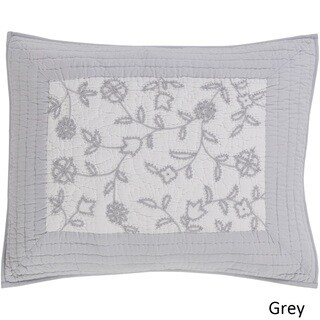 Tucker Floral Grey Cotton/Linen Sham