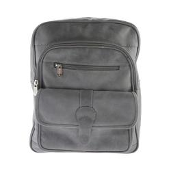 Piel Leather Medium Buckle Flap Backpack 3060 Charcoal