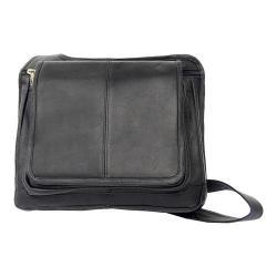Piel Leather Slim Line Flap Over Bag 2005 Black Leather