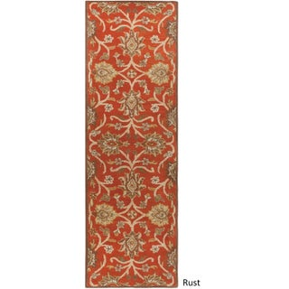 Hand-tufted Patchway Wool Runner Rug - 3' x 12' (Option: Rust)