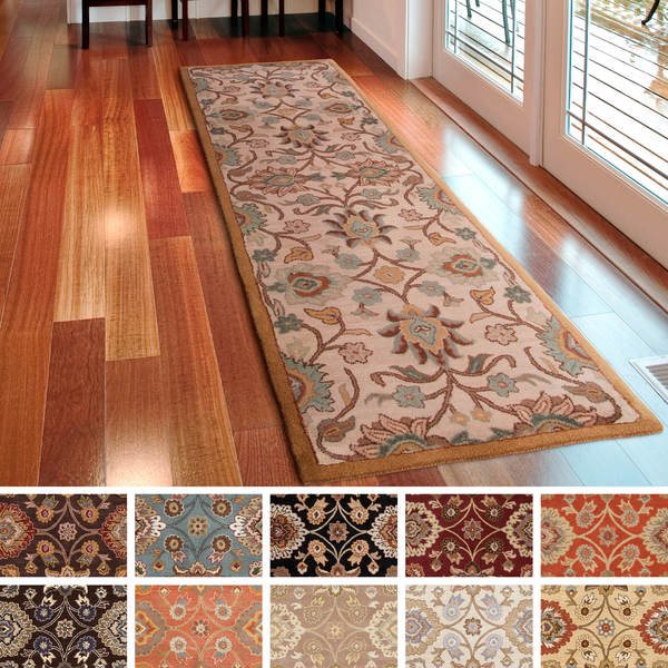 Great Hand Tufted Patchway Wool Rug (2u00276 X 8u0027)