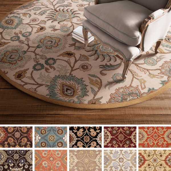 Hand-Tufted Patchway Wool Area Rug (6' Round)