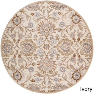 Hand-Tufted Patchway Wool Area Rug - 4' Round (Option: Ivory)
