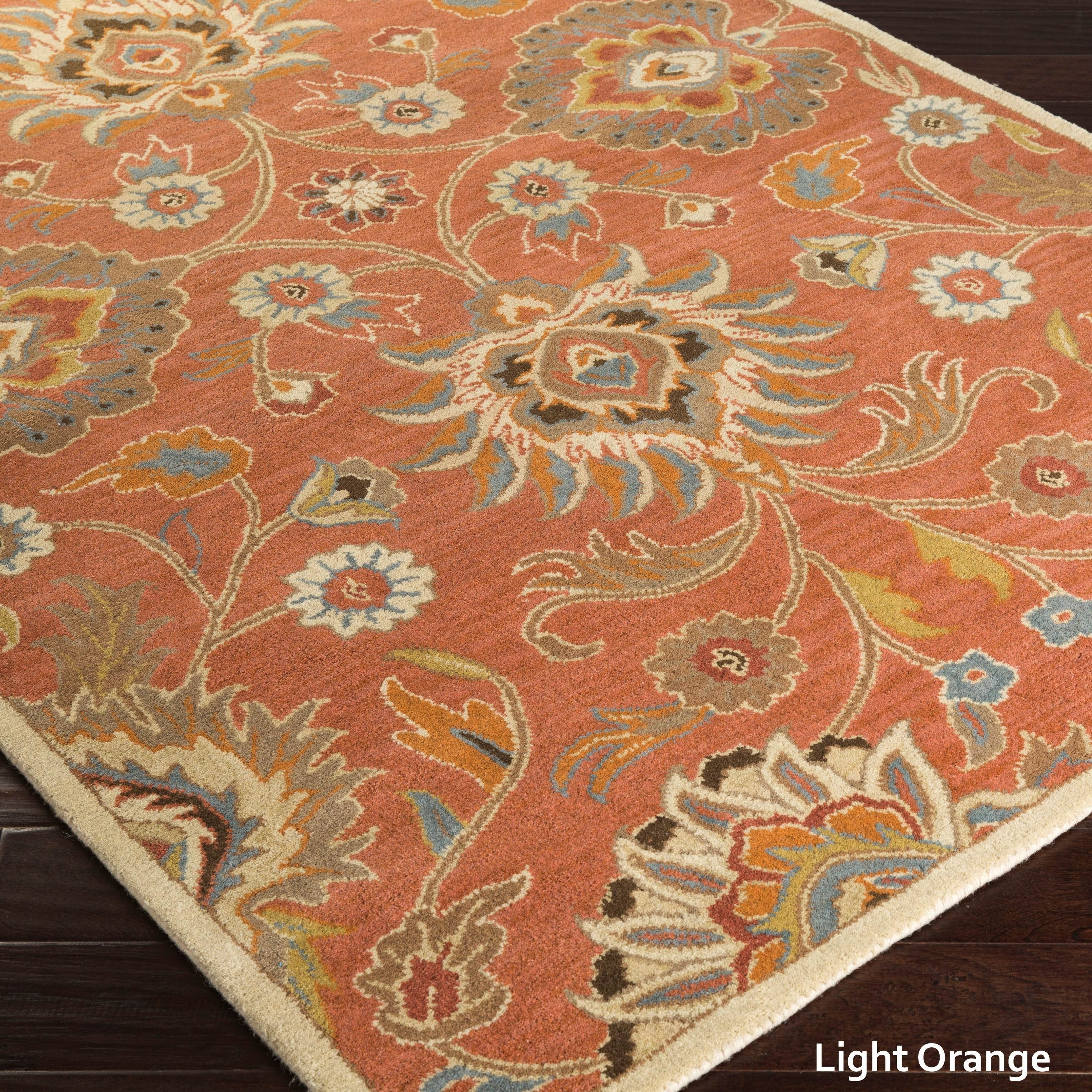10x10 Square New Oushak Oriental Wool Area Rug: Hand-Tufted Patchway Floral Wool Area Rug (8' X 11')