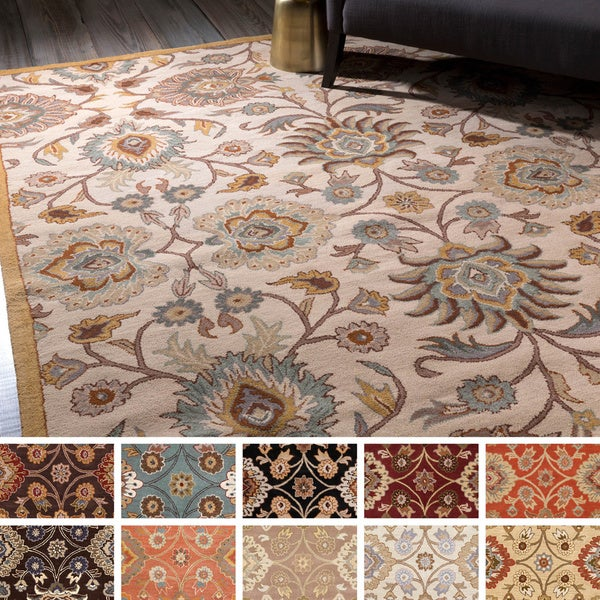 12 10 X 14 11 Persian Karajeh Hand Knotted Wool: Hand-Tufted Patchway Floral Wool Area Rug