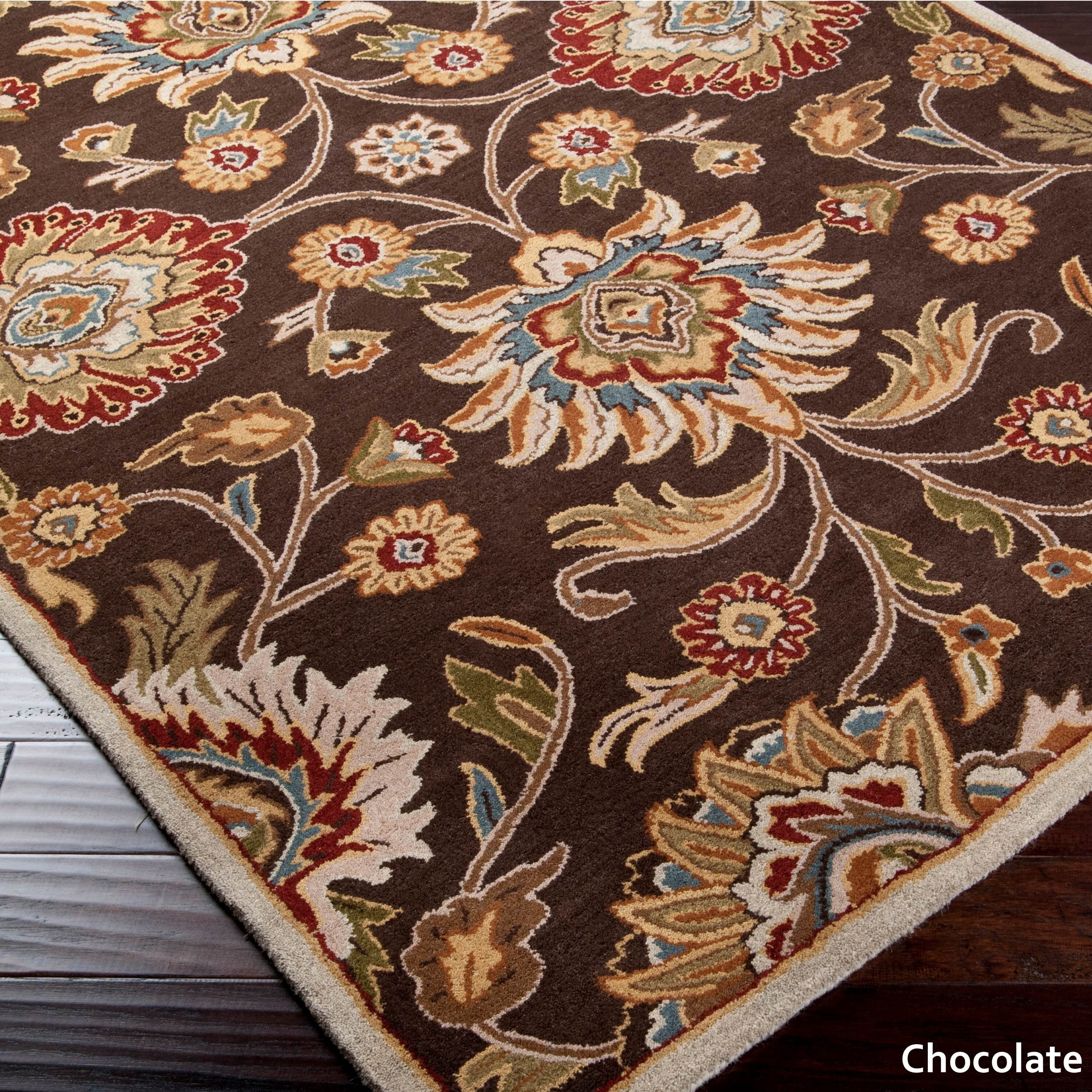 Shop Oushak Floral Tufted Wool Persian Oriental Area Rug: Hand-Tufted Patchway Floral Wool Area Rug (8' X 11')