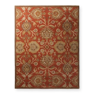 Hand-tufted Floral Wool Area Rug - 7'6 x 9'6 (Option: Rust)
