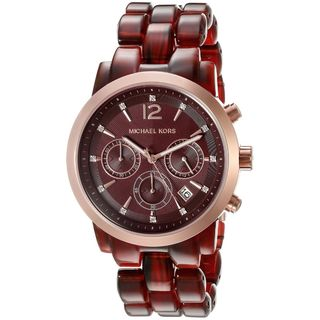 Michael Kors Women's MK6237 'Audrina' Chronograph Crystal Red Acetate Watch