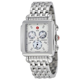 Michele Women's MWW06Z000012 'Deco XL' Chronograph Diamond Stainless Steel Watch