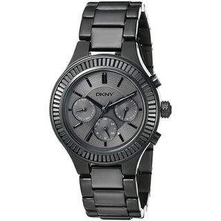 DKNY Women's NY2397 'Chambers' Multi-Function Crystal Black Stainless Steel Watch