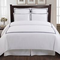 Echelon Home Three Line Hotel Collection Cotton Sateen 3-piece Duvet Cover Set King size in light grey (As Is Item)