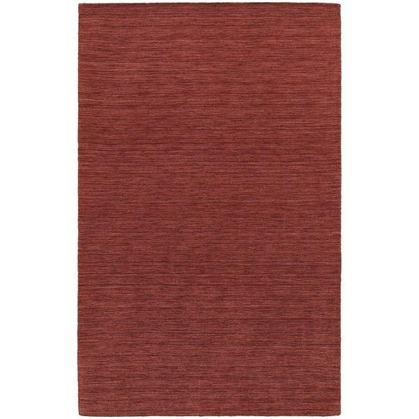 Handwoven Plush Wool Heathered Red Rug (8' X 10') - 8' x 10'
