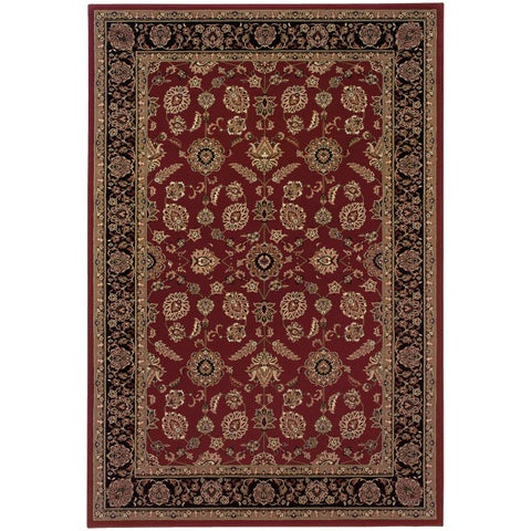 """Updated Old World Persian Flair Red/ Black Area Rug (7'10 x 11') - 7'10"""" x 11'"""