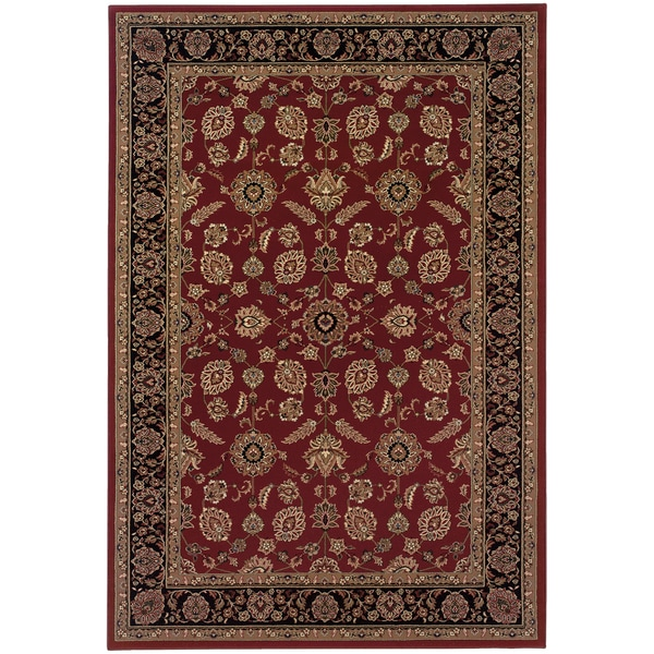 "Updated Old World Persian Flair Red/ Black Area Rug (7'10 x 11') - 7'10"" x 11'"