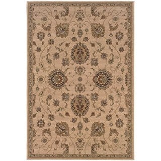 "Updated Old World Persian Flair Beige/ Gold Rug (7'10"" X 11')"