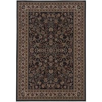 "Gracewood Hollow Flanagan Persian Flair Black/ Ivory Rug - 7'10"" x 11'"