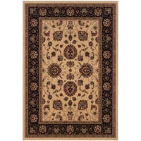 Updated Old World Persian Flair Ivory/ Black Area Rug - 7'10 x 11'