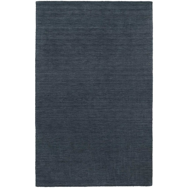 Handwoven Plush Wool Heathered Navy Rug (8' X 10') - 8' x 10'