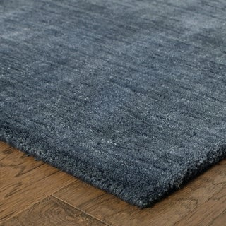 Handwoven Plush Wool Heathered Navy Rug (8' X 10') - 8' x 10'