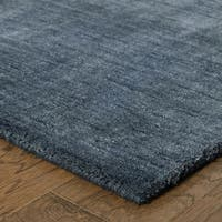 Handwoven Wool Heathered Navy Rug - 8' x 10'
