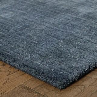Handwoven Wool Heathered Navy Rug - 8' x 10'