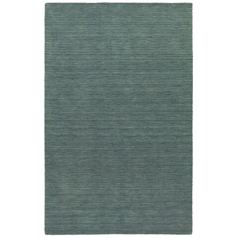Handwoven Plush Wool Heathered Blue Rug (8' X 10') - 8' x 10'